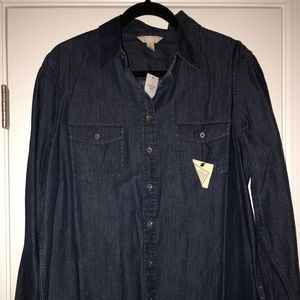 Dark cotton denim shirt